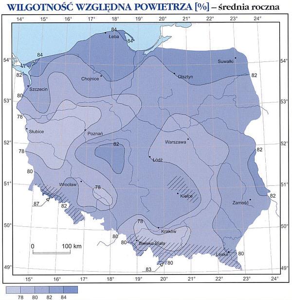 mapa wilgotność powietrza w polsce